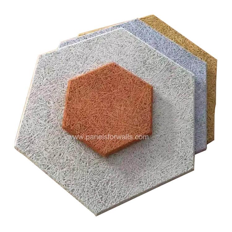 Hexagon Wood Wall Panels Factory Wood Wool Hexagon Wall Tiles 100mm 200mm 300mm